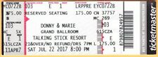 2017 Donny & Marie Osmond concert ticket Talking Stick Resort Phoenix Arizona br