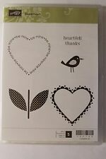 "Stampin Up Sweetheart set of 5 ""Retired"" Hearts, Bird, Flower, Heartfelt Thanks"