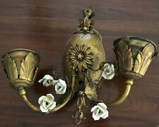Antique French Wall Sconce with white porcelain roses gold
