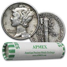 90% Silver Mercury Dime 50-Coin Roll XF - SKU #44583