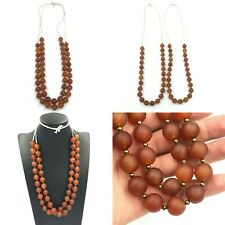 SALE 2 Strand Antique 12MM Old Carnelian Agate Stone Beads Strand Necklace