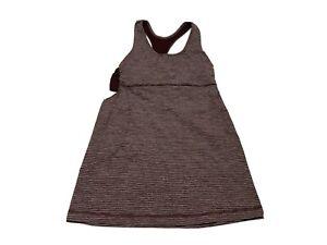 Lululemon - Tank Top Built In Bra Striped Maroon Size 6 Yoga Fitness Gym Running