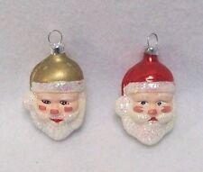 "2 Vtg Santa Head Figural Christmas Tree Ornaments Glass Hand Painted Face 2.5"""