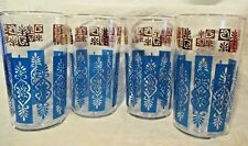 FOUR VINTAGE 1950'S 10 oz High Ball Drink Glasses BRIGHT Turquoise Blue & Gold