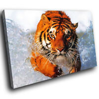 A045 Orange Tiger Water Blue  Funky Animal Canvas Wall Art Large Picture Prints