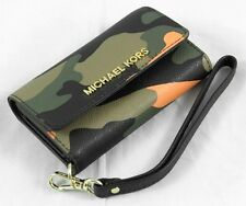 Michael Kors Camo Leather Iphone Wristlet Card Wallet Metallic Gold Accent BNWT