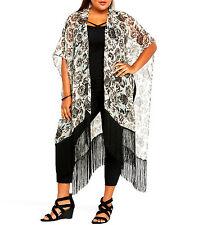 TORRID NWT Womens PLUS Size Mint Black Floral Print RUANA Fringe Wrap Shawl NEW