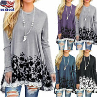Womens Lace Floral Print Loose Tunic Tops Shirt Casual Ladies Long Sleeve Blouse