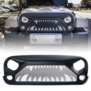 Xprite Gladiator Front Grille w/ Teeth Steel Mesh for 2007-2018 Jeep Wrangler JK
