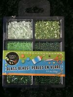 Crafters Square Mixed glass Beads Small Bugle, Pony, Seed greens, pastels, mixed