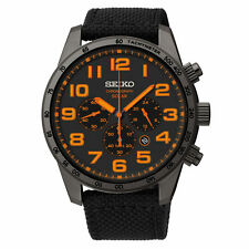 Mens Seiko Solar Black Nylon Band Black Dial Orange Numbers Watch Date SSC233