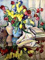 painting art Zhuravleva socialist realism vintage still life old tulip books