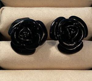ANNE FONTAINE Estate Costume Black Enamel Rose Design Cuff Links