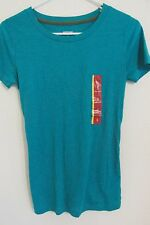 NEW WOMEN'S MOSSIMO FITTED SHIRT SOLID TURQUOISE BLUE CREW NECK SMALL SEXY BACK!