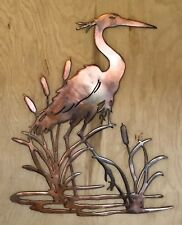 Heron Bird Copper Patina Metal Wall Art