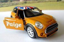 PERSONALISED NAME Gift Orange BMW Mini Girls Mum Toy Model Car Birthday Present