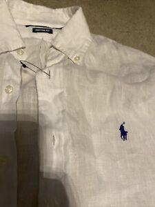 Ralph Lauren Polo Custom Fit Linen Shirt Sz Medium Rrp £80