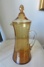 VINTAGE STUNNING AMBER GLASS COVERED PITCHER CLEAR HANDLE PANELED (FOSTORIA)RARE