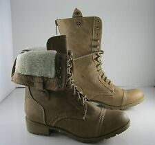 NEW LADIES Skin Tone Lace Rugged Combat Riding Winter Sexy Mid-Calf Boots Size 6