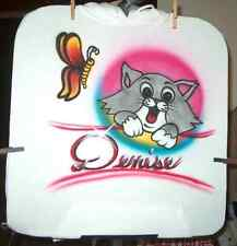 Airbrushed T-Shirt CAT & BUTTERFLY All Sizes Up to 6X