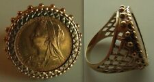 Full Queen Victoria Sovereign Coin / Ring   Wearable , 15.   Grams Gold, size V
