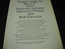MICHAEL JACKSON Michal Peters & Bob Giraldi BEAT IT 1984 PROMO DISPLAY AD mint