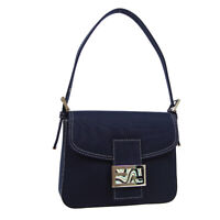 FENDI Marble Metal Hand Bag Purse Navy Canvas Vintage Italy Authentic 31039