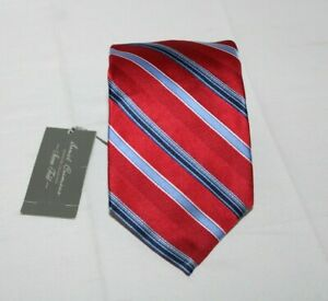 NWT DANIEL CREMIEUX Men's Silk Tie Red Striped 7 FOLD 57/265 Seven Fold