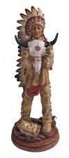 "12"" Inch American Indian Statue Figure Western Figurine Warrior Indio Bull Head"