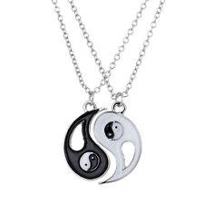 Black and White Enameled Split Taoism Yin Yang Pendant Friendship Necklace New