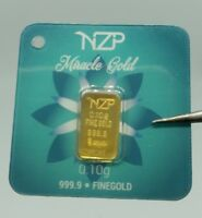 world smallest gold 0.10 gram gold bar 24 karat 999,9 Nzp Gold int. sertificated