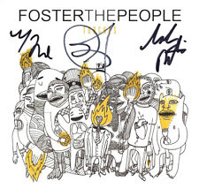 FOSTER THE PEOPLE SIGNED AUTHENTIC 'TORCHES' CD COVER BOOKLET w/COA X3 MARK