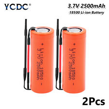 Rechargeable 18500 Li-ion Battery 3.7V 2500mAh Batteries Flat With Wires 2Pcs A