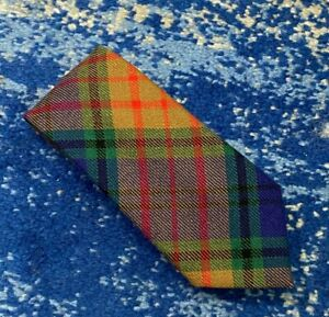 Edgar of Scotland Red Green Blue Camel Black Bias Plaid Wool Necktie