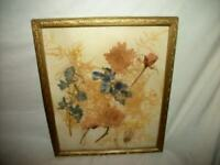 ANTIQUE DRIED FLOWERS PICTURE 1920's FRAME GOLD WOOD HANDMADE ART WORK