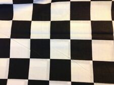 "BLACK WHITE CHECKER BOARD NASCAR RACING FLAG CHEF SEW FABRIC, 45""w, sold BTY"
