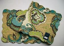 """C&F KASBAH Quilted Cotton Table Runner 14"""" x 51"""" Teal Blue Green Tan Paisley"""
