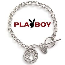 Playboy Bracelet Bunny Charm Silver Platinum Plated Swarovski Crystal NEW NWT