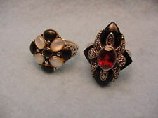 Vintage Lot Two Sterling Stone Rings