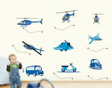 CUTE AIRPLANES, CARS, HELICOPTERS, BUS KIDS WALL STICKER  fro kids or nursery