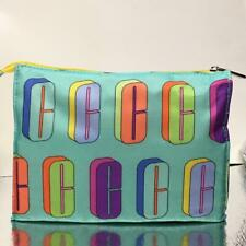 New Clinique Cosmetic Bag Travel Case Pouch  Zip Top Logo Rainbow