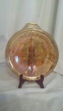 "Vintage Marigold Iridescent Carnival Glass Divided Nut Candy Bowl Handled 7.5"""