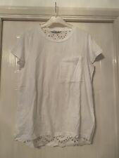 Next Ladies White 100% Cotton Top with Border Anglais to the Back - Size 10
