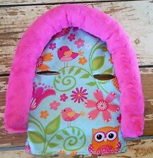 infant headsupport pink owls and pink minky