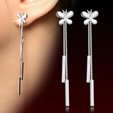 Womens 925 Sterling Silver long Tassel Butterfly Ear Chain/Link Stud Earrings