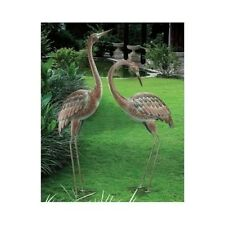 Metal Garden Crane Statues Heron Pair Outdoor Patio Pond Yard Bird Sculpture Art