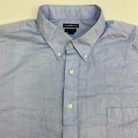 Croft & Barrow Button Up Dress Shirt Men's 18.5-19 Short Sleeve Blue Classic Fit