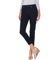 Isaac Mizrahi Live! 24/7 Denim Fly Front Ankle Jeans Dark Indigo Size Petite 14