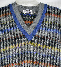 Missoni Uomo Ziz Zag Mohair Blend Sweater Vest Rainbow Space Knit Vintage