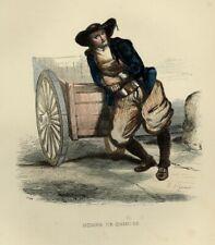 1842 HOMME DE QUIMPER BRETAGNE Les Français ... estampe aquarellée époque